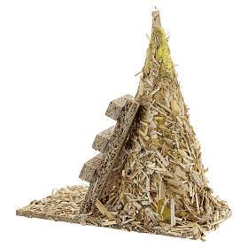 Palheiro com escada miniatura 12x12x7 cm para presépio com figuras altura média 8-10 cm s4