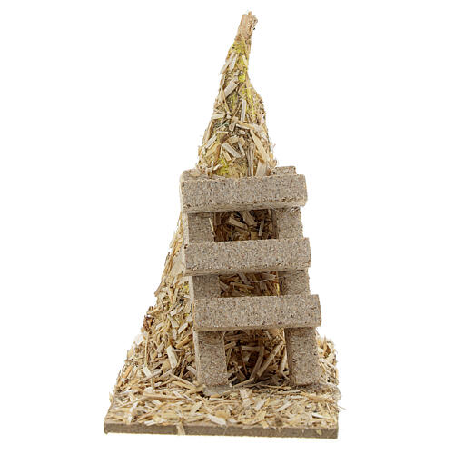 Palheiro com escada miniatura 12x12x7 cm para presépio com figuras altura média 8-10 cm 1