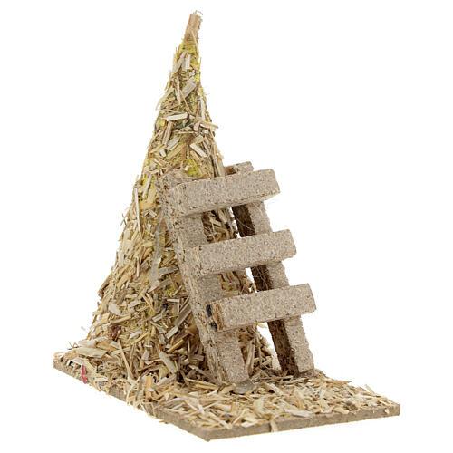 Palheiro com escada miniatura 12x12x7 cm para presépio com figuras altura média 8-10 cm 3