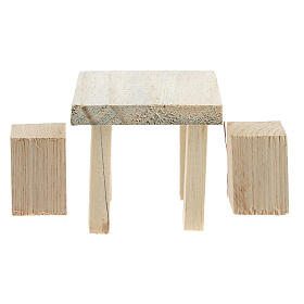 Wood table 6x7x7 cm with stools 4x2x2 cm for Nativity Scene with 14 cm figurines s1