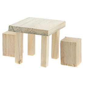 Wood table 6x7x7 cm with stools 4x2x2 cm for Nativity Scene with 14 cm figurines s2