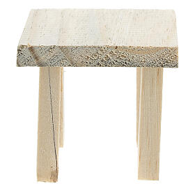 Wood table 6x7x7 cm with stools 4x2x2 cm for Nativity Scene with 14 cm figurines s3