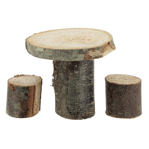 Wood round table 8x8x8 cm with stools for Nativity Scene with 14-16 cm figurines 1