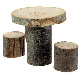 Wood round table 8x8x8 cm with stools for Nativity Scene with 14-16 cm figurines s2