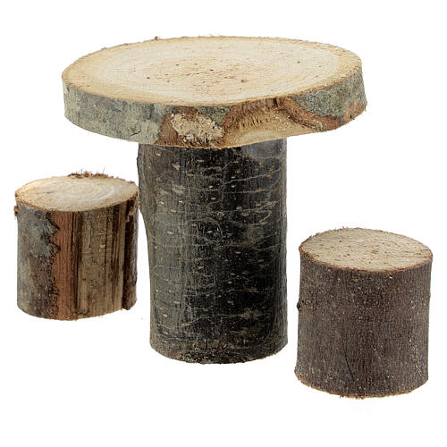Wood round table 8x8x8 cm with stools for Nativity Scene with 14-16 cm figurines 2