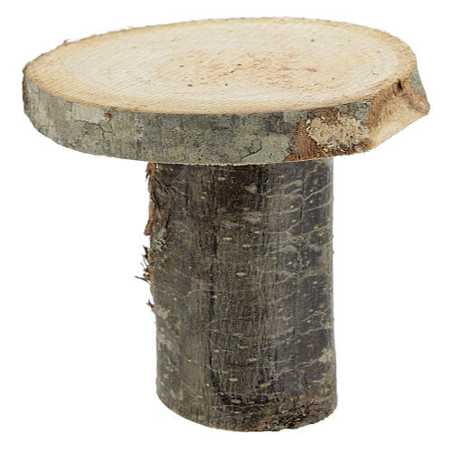 Wood round table 8x8x8 cm with stools for Nativity Scene with 14-16 cm figurines 3