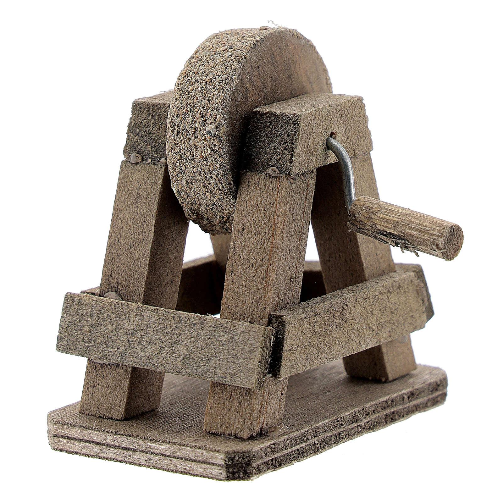 Rebolo para afiar miniatura madeira para presépio com figuras altura média 8-10 cm 4