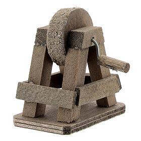 Rebolo para afiar miniatura madeira para presépio com figuras altura média 8-10 cm s2
