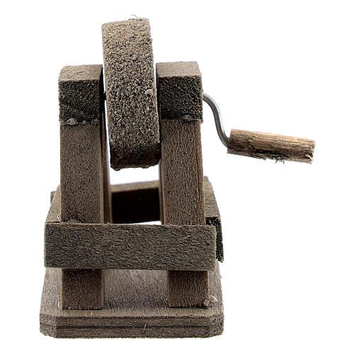Rebolo para afiar miniatura madeira para presépio com figuras altura média 8-10 cm 1