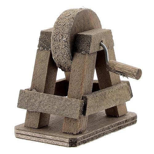 Rebolo para afiar miniatura madeira para presépio com figuras altura média 8-10 cm 2