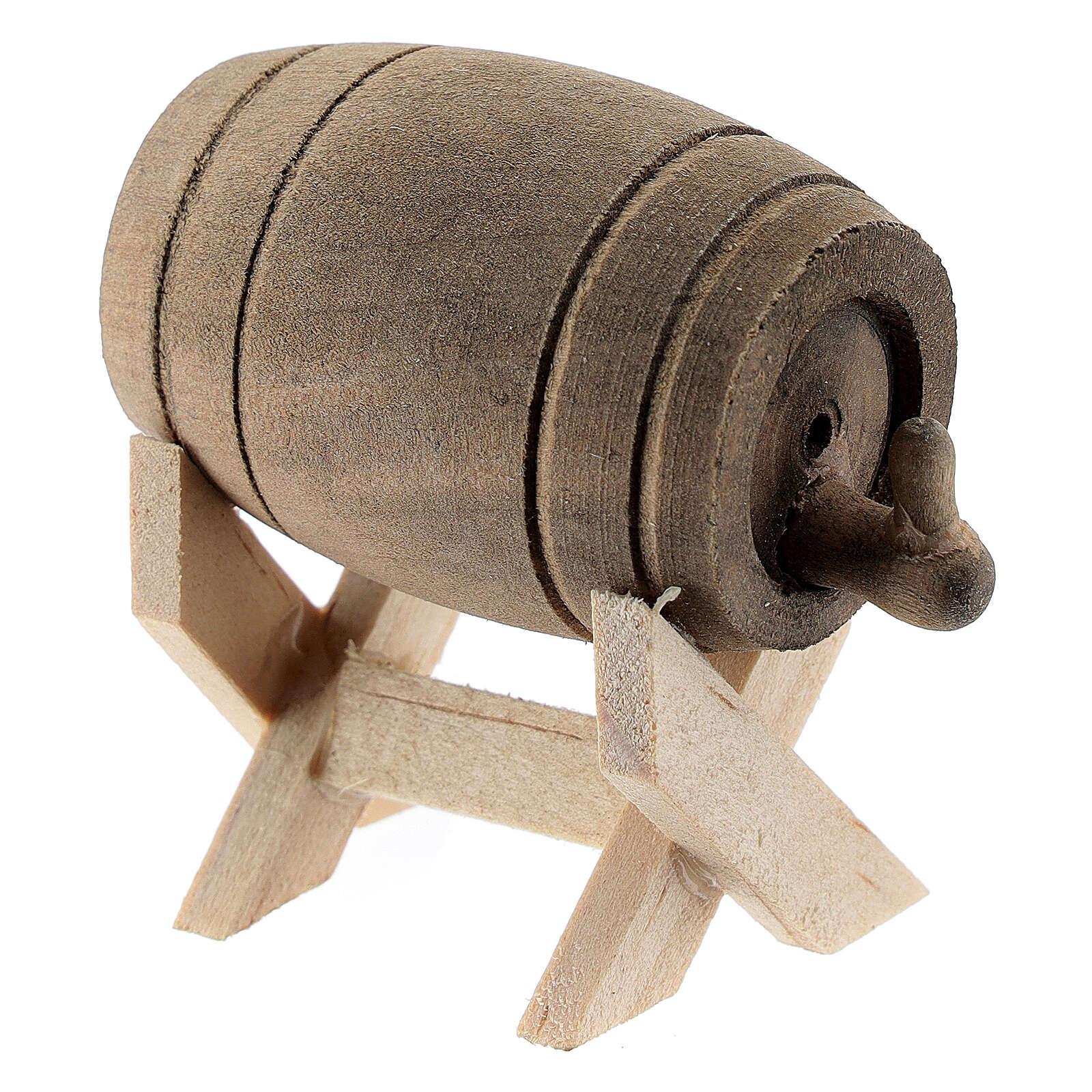 Barril de madeira com suporte, miniatura para presépio com figuras altura média 6-10 cm 4