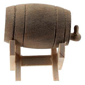 Barril de madeira com suporte, miniatura para presépio com figuras altura média 6-10 cm s1