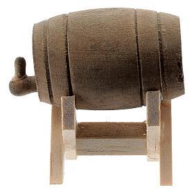 Barril de madeira com suporte, miniatura para presépio com figuras altura média 6-10 cm s3