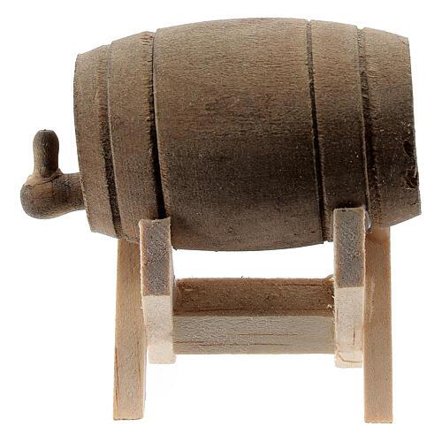 Barril de madeira com suporte, miniatura para presépio com figuras altura média 6-10 cm 3