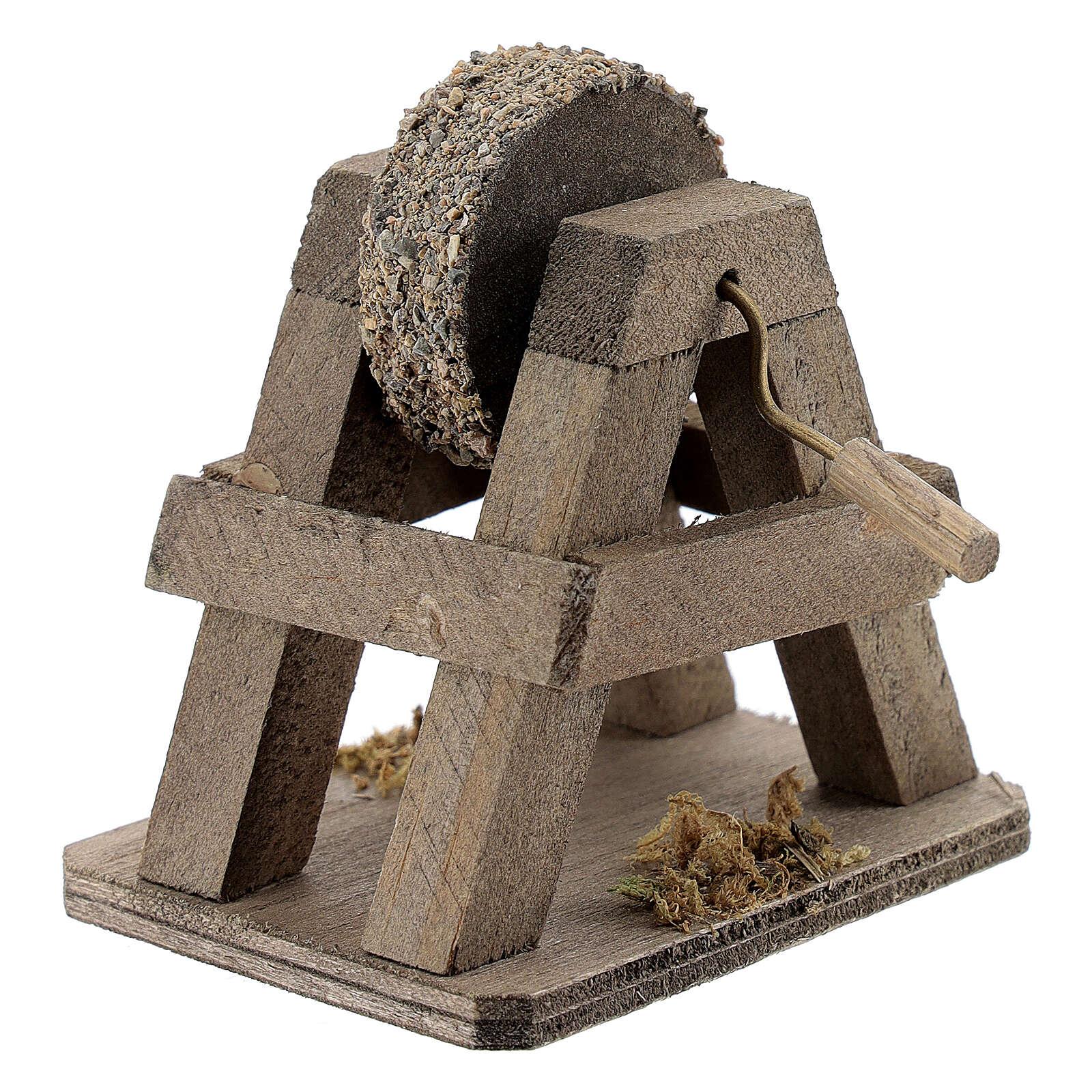 Rebolo para afiar miniatura madeira para presépio com figuras altura média 12-14 cm 4