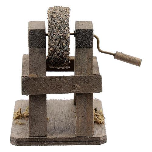 Rebolo para afiar miniatura madeira para presépio com figuras altura média 12-14 cm 1