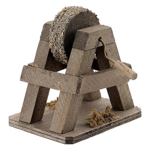 Rebolo para afiar miniatura madeira para presépio com figuras altura média 12-14 cm 2