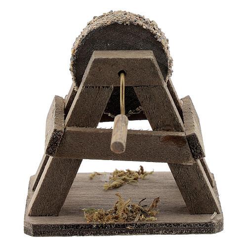 Rebolo para afiar miniatura madeira para presépio com figuras altura média 12-14 cm 3
