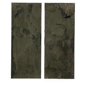 Coppia ante portone legno 20x5 cm per statue di 14-16 cm s3