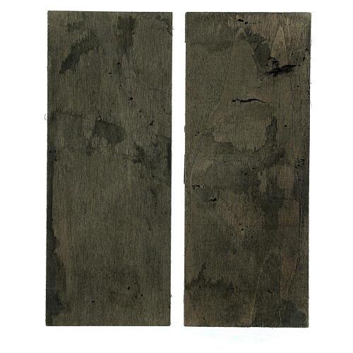 Coppia ante portone legno 20x5 cm per statue di 14-16 cm 3