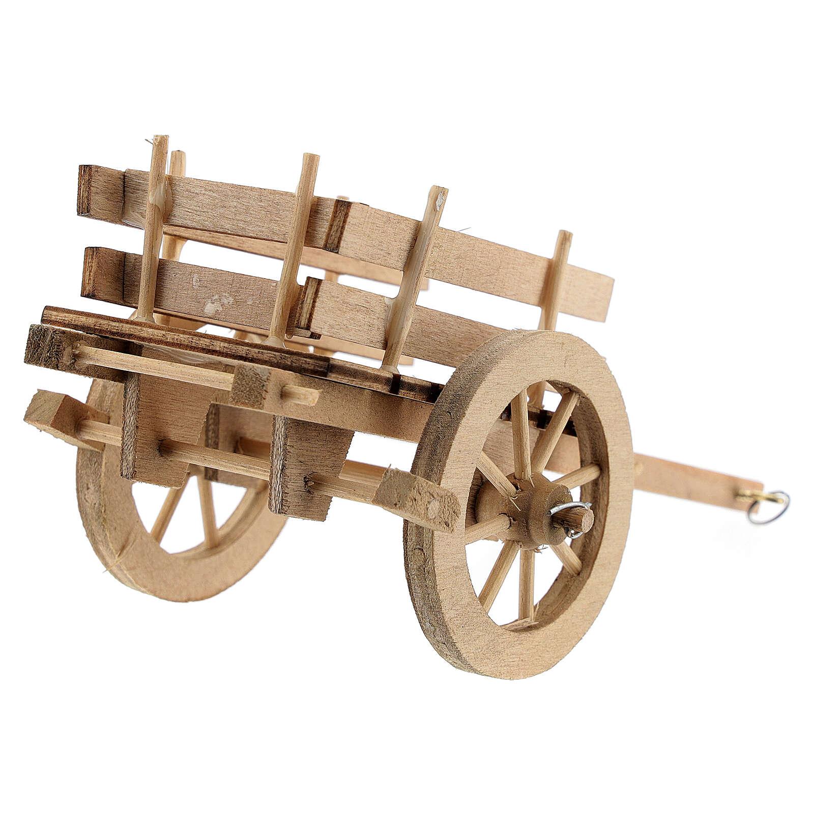 Carretto legno chiaro presepe 8-10 cm 4