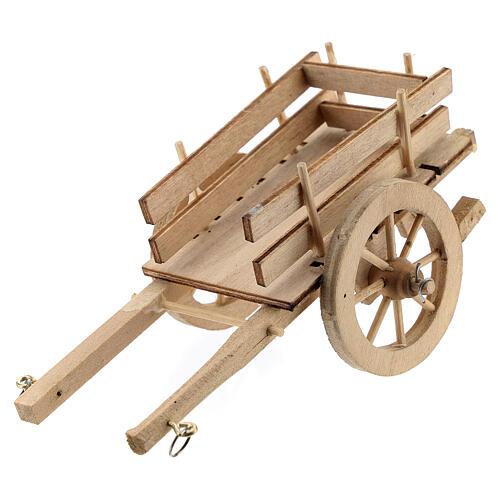 Carretto legno chiaro presepe 8-10 cm 2