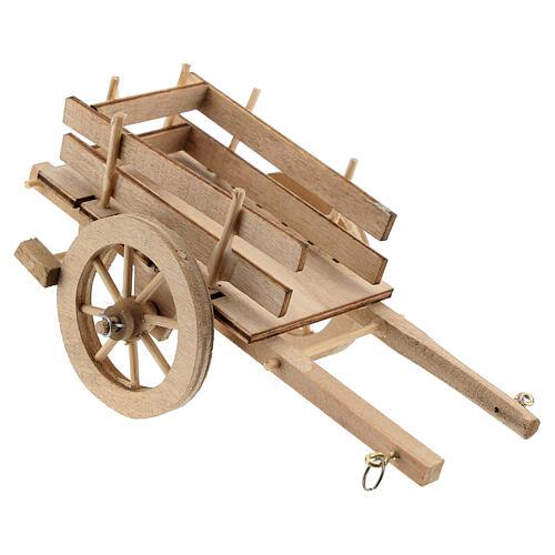 Carretto legno chiaro presepe 8-10 cm 3