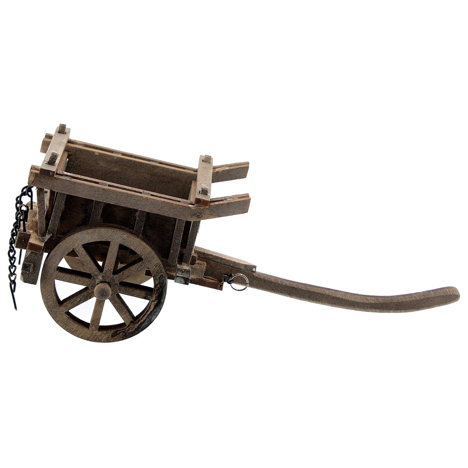 Carrinho de madeira duas rodas miniatura para presépio com figuras altura média 8-10 cm 4