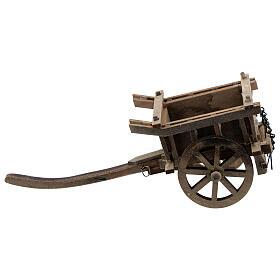 Carrinho de madeira duas rodas miniatura para presépio com figuras altura média 8-10 cm s1