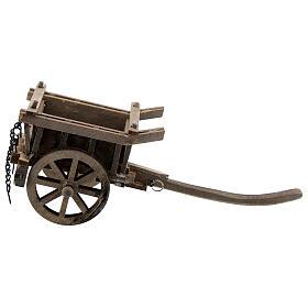 Carrinho de madeira duas rodas miniatura para presépio com figuras altura média 8-10 cm s4
