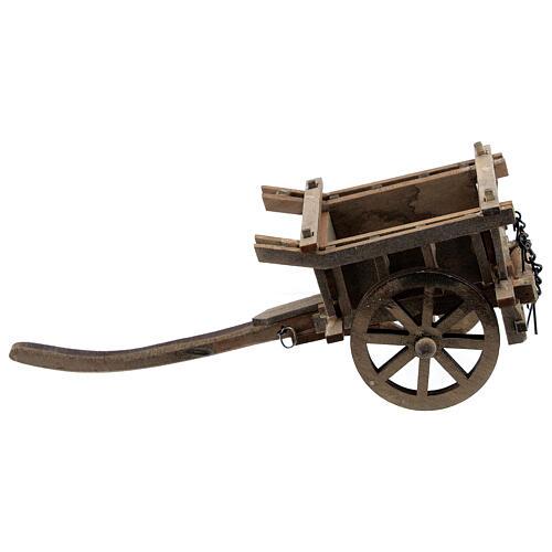 Carrinho de madeira duas rodas miniatura para presépio com figuras altura média 8-10 cm 1