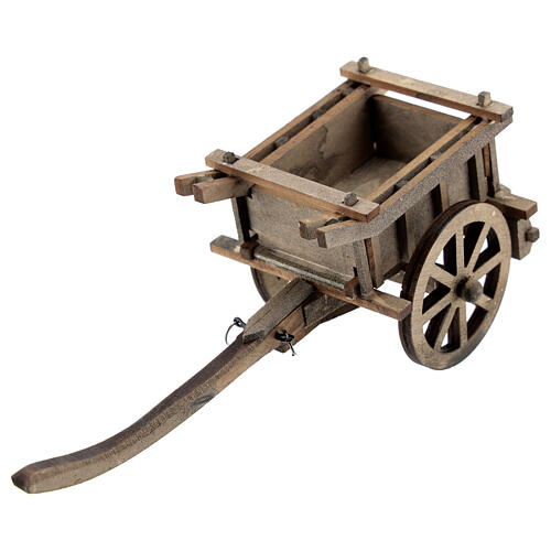 Carrinho de madeira duas rodas miniatura para presépio com figuras altura média 8-10 cm 2