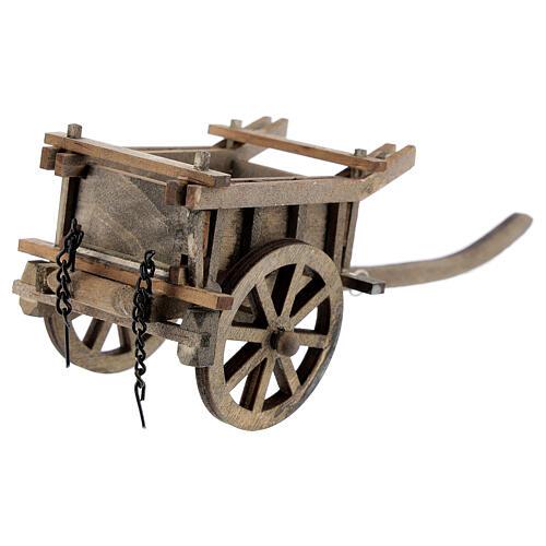 Carrinho de madeira duas rodas miniatura para presépio com figuras altura média 8-10 cm 3