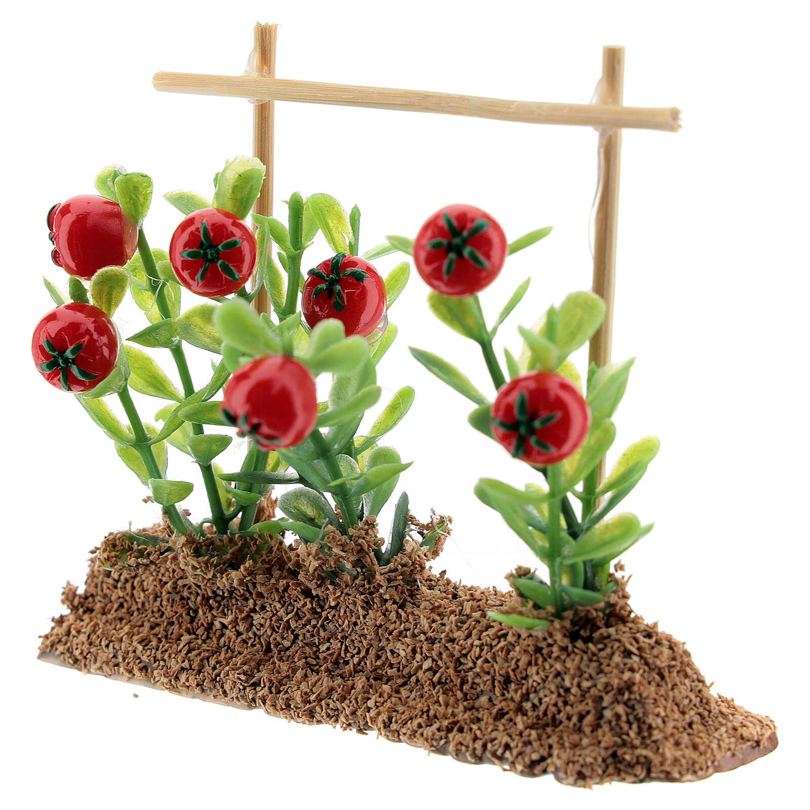 Horta com tomates miniatura resina 7x10x2 cm para presépio com figuras altura média 12-14 cm 4