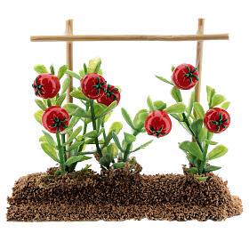 Horta com tomates miniatura resina 7x10x2 cm para presépio com figuras altura média 12-14 cm s1