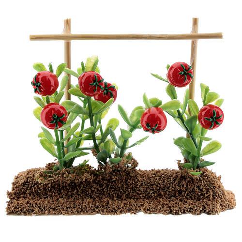 Horta com tomates miniatura resina 7x10x2 cm para presépio com figuras altura média 12-14 cm 1