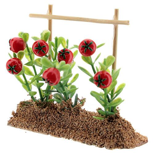 Horta com tomates miniatura resina 7x10x2 cm para presépio com figuras altura média 12-14 cm 2
