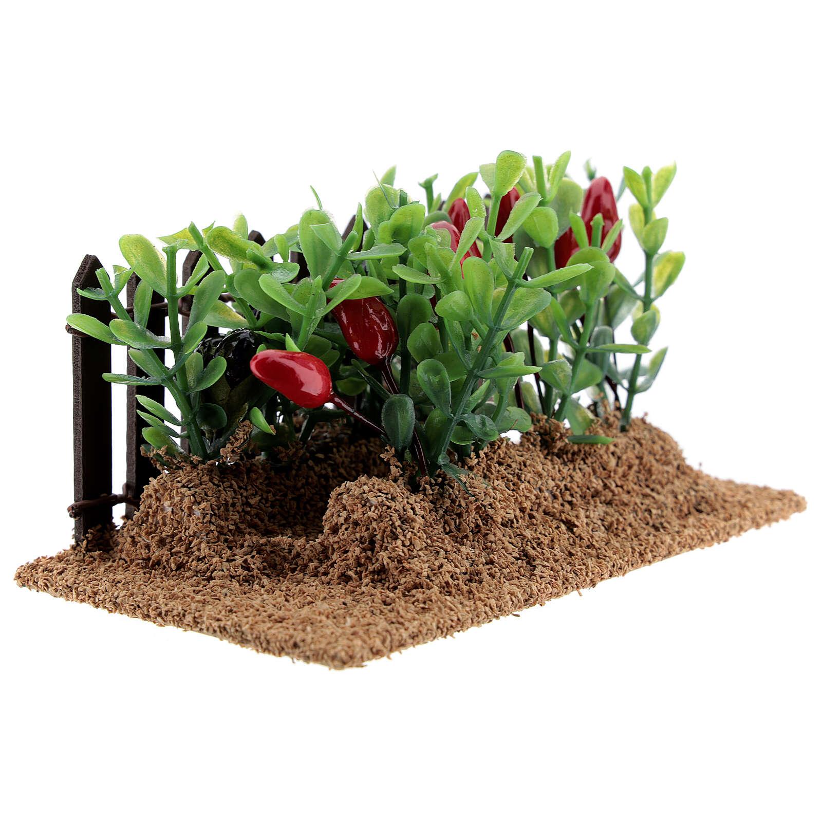 Horta com pimentas miniatura PVC para presépio com figuras altura média 12-14 cm 4