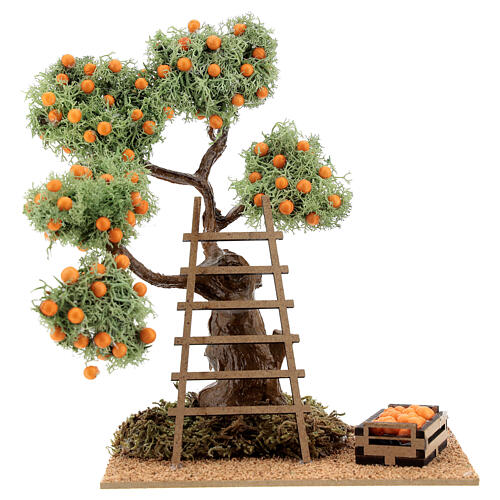 Albero arancio con cassetta 16 cm per presepe 8-10 cm 1