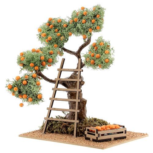 Albero arancio con cassetta 16 cm per presepe 8-10 cm 2