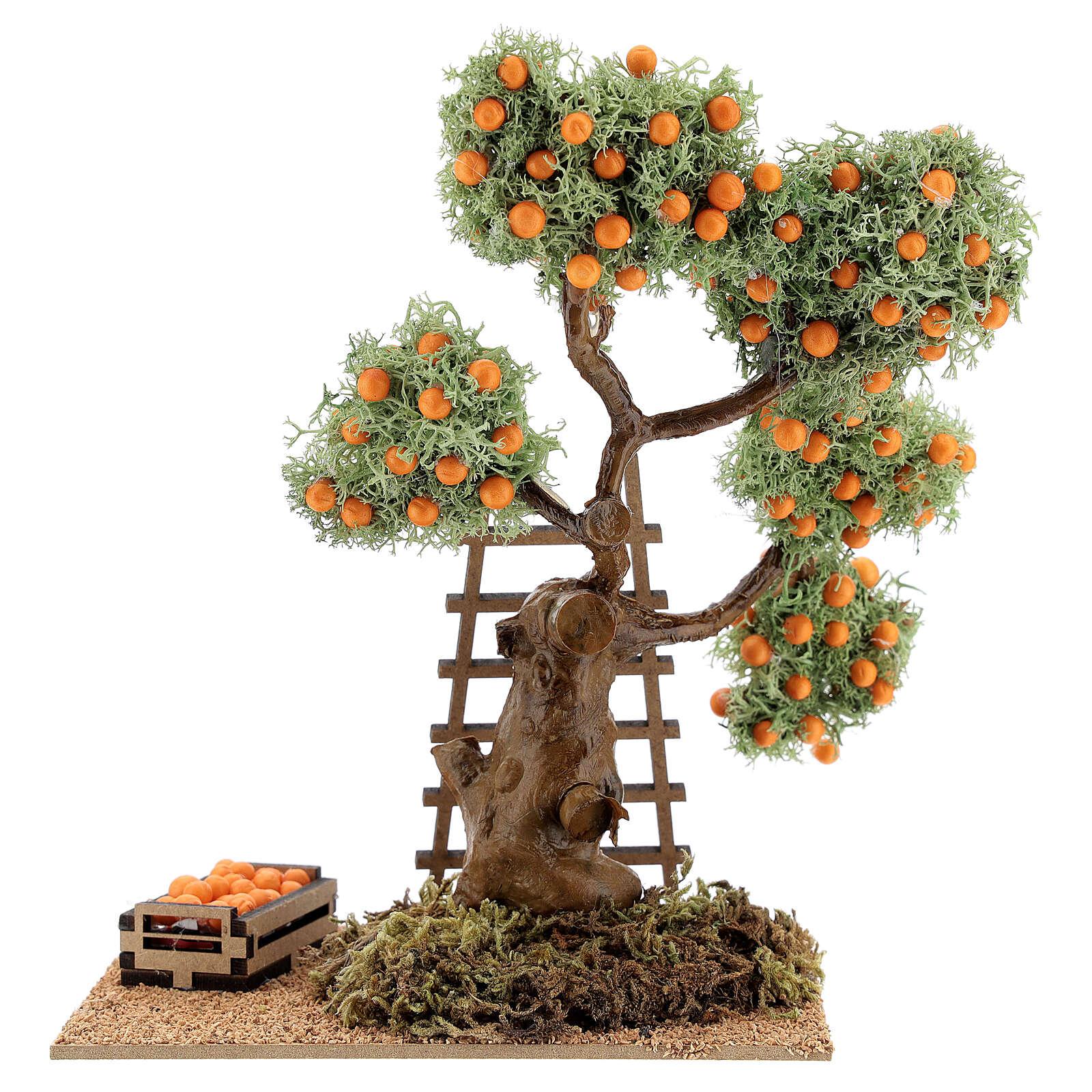Orange tree with box 16 cm for Nativity Scene with 8-10 cm figurines 4