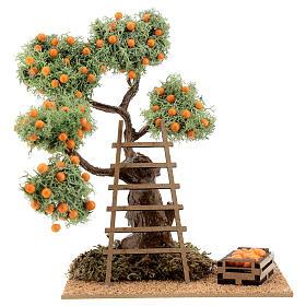 Orange tree with box 16 cm for Nativity Scene with 8-10 cm figurines s1