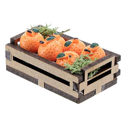 Arance in cassetta miniatura presepe 16 cm 2