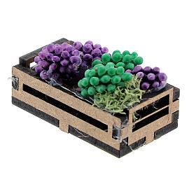 Cassa legno con uva presepe 12-14 cm s2