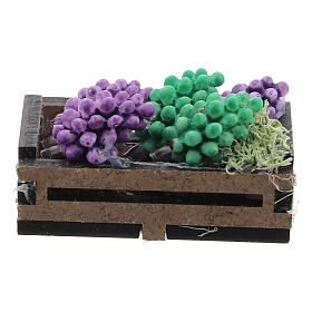 Wood box with grapes for Nativity Scene with 12-14 cm figurines s1