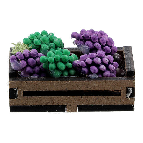 Wood box with grapes for Nativity Scene with 12-14 cm figurines 3