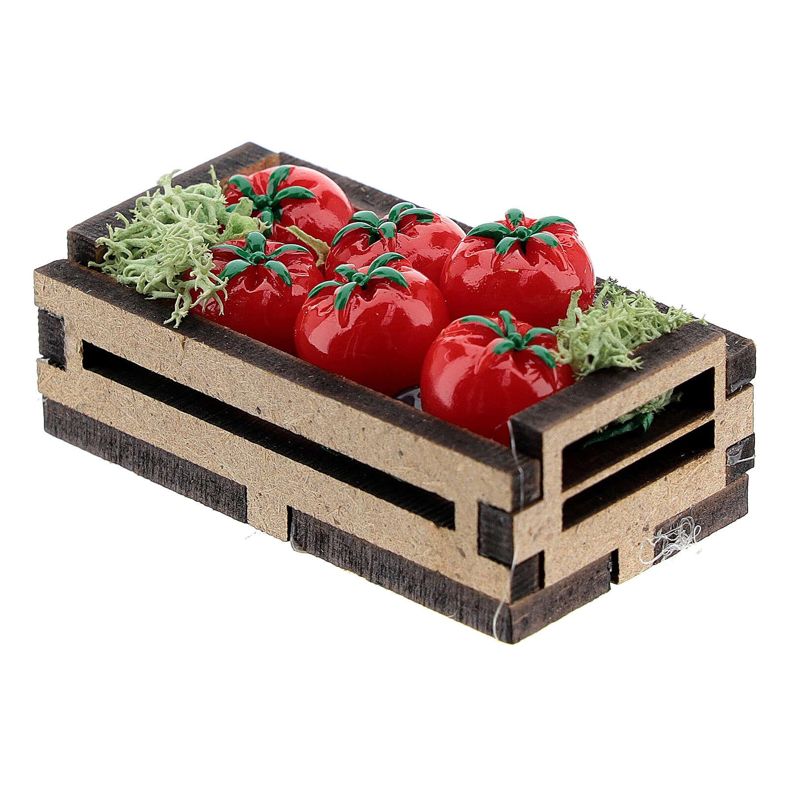 Cassetta legno con pomodori presepe 14-16 cm 4