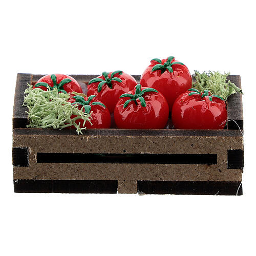 Cassetta legno con pomodori presepe 14-16 cm 1