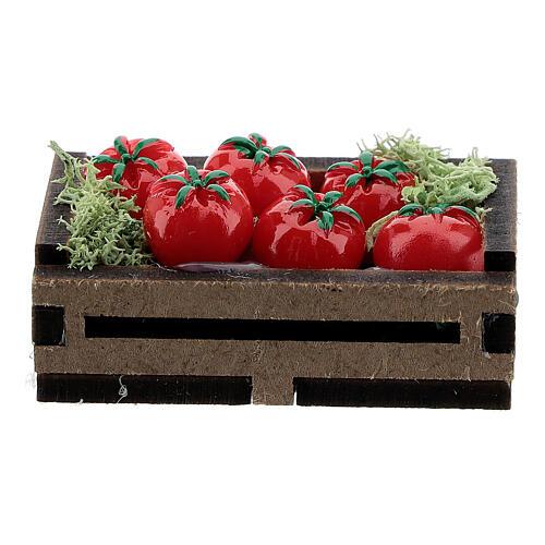Cassetta legno con pomodori presepe 14-16 cm 3
