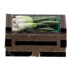 Wood box with resin onions for Nativity Scene with 10-12 cm figurines s1